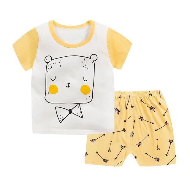b1dba8ed48 Kids Clothing Set Baby Boy Combed Cotton T Shirt+Short Pants 2Pcs Children  Set for Summer Boy Cartoon Clothes Fits 2-6T JTX02