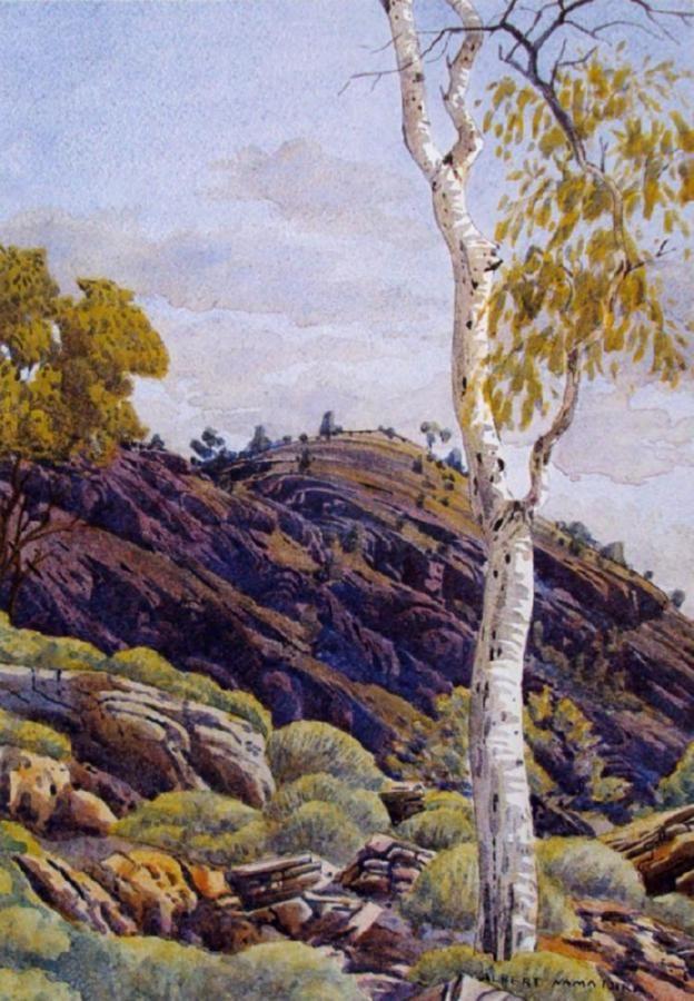 Albert Namatjira, Spinifex Ridge Near Wallace Rockhole, watercolour on paper, signed lower right, 37 x 26cm