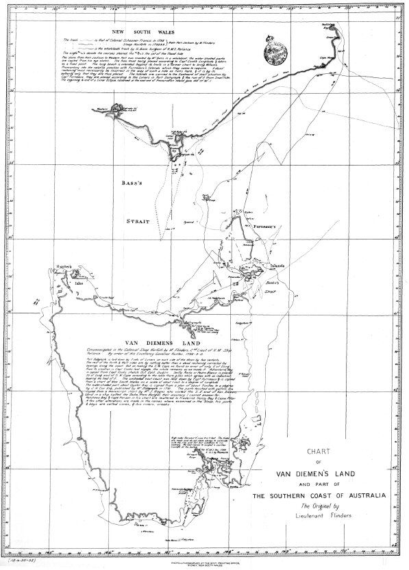 Chart of Van Diemen's Land and Part of the Southern Coast of Australia.