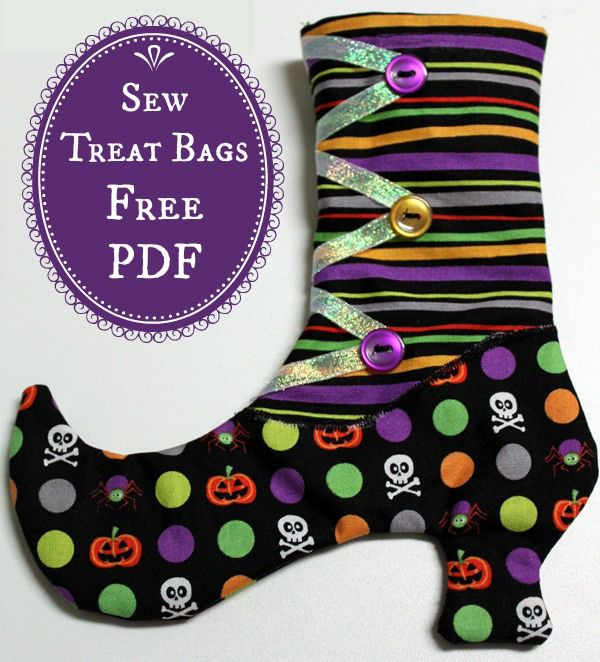 witches boots halloween treat bags free pdf sewing tutorial - Pinterest Halloween Treat Bags