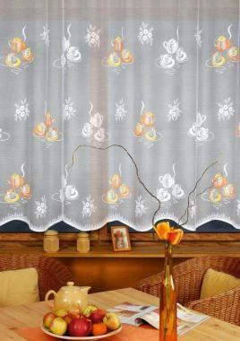 Függöny 0279001, sárga mintával 110 cm széles - Rea Tex Kézimunka Webáruház