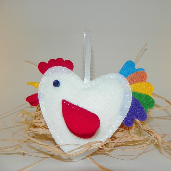 Valentines Day White Felt Rooster Ornament by MerrilyMadeHartworks,
