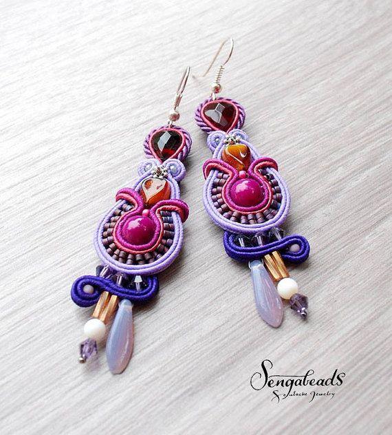 Soutache earrings in violet lilac purple soutache by Sengabeads