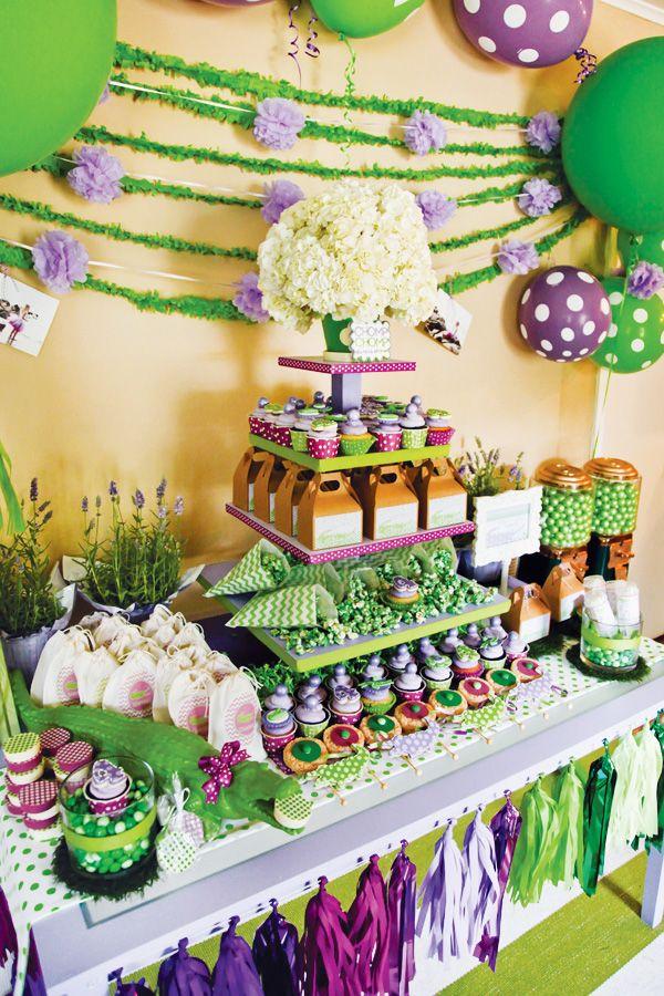 Purple Polka Dot Croc Birthday Party // Hostess with the Mostess®  Purple and green birthday party ideas  Cupcakes, dessert buffet, favors, invitations, decor