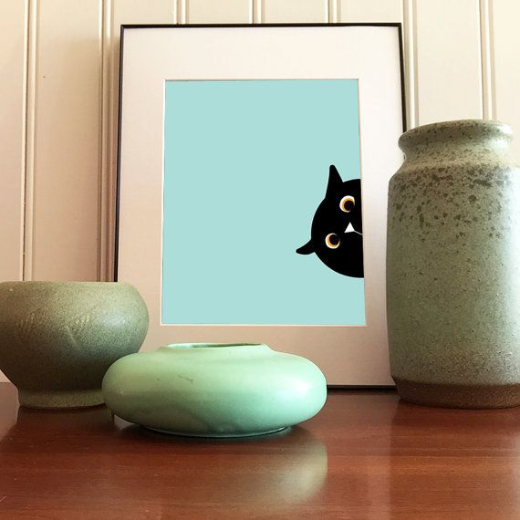 Side peeking black cat giclee print by tinypicnicposters