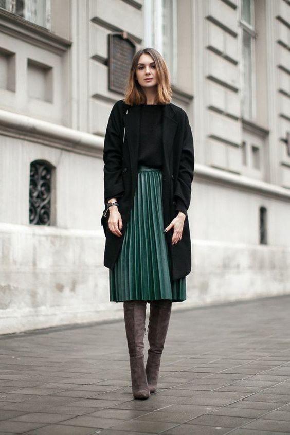 Incredibly dark green pleated long skirt, elegant woman brown shoes