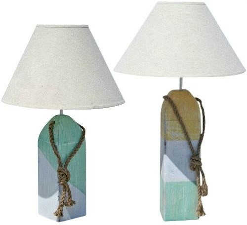 Buoy Lamps: Http://www.completely Coastal.com/2016/04/nautical Buoy Lamps.html  Charming Wood Buoy Table Lamps Painted White, Turquoise And Yellow U2026