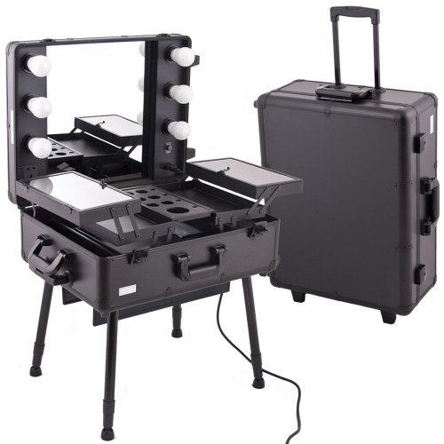 Black PRO STUDIO Aluminum Professional Makeup Artist Rolling Wheeled Organizer Trolley Cosmetic Train Case Table w/Lights by MyGift, http://www.amazon.com/dp/B005DA2S8E/ref=cm_sw_r_pi_dp_eegEpb05RX06W........Maybe someday