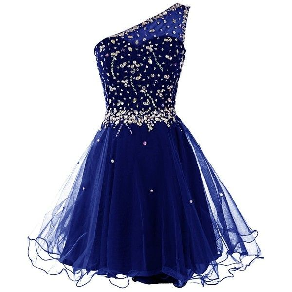 Dresstells Women's One Shoulder Prom Dresses Homecoming Dress with... ($50) ❤ liked on Polyvore featuring dresses, blue dress, one sleeve homecoming dresses, one-sleeve dress, beaded prom dresses and prom dresses