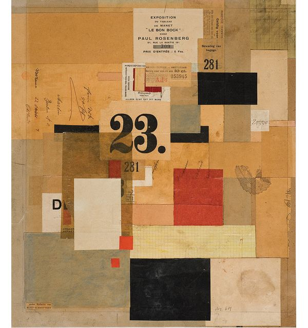 Kurt Schwitters   - Mz 601, 1923; paint and paper on cardboard; 17 × 15 in. © 2011 Artists Rights Society (ARS), New York / VG Bild-Kunst, Bonn.