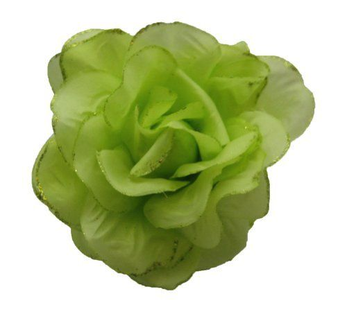 Lime Chiffon Flower Hair Jaw Clip Claw Double Sided Style by Fashion Blue. $12.99. Dress up your tresses with this Chiffon Flower Hair Jaw Clip Claw Double Sided.     Double sided flower hair jaw clip. Looks like a rose. Lime Chiffon flower with glitter edges. Lime plastic jaw clip measures 3 1/4 inches long with the flower portion being about 4 1/2 by 4 1/2 inches on each side. Really cute in your hair. Mounted on a matching plastic color claw clip so you will hav...