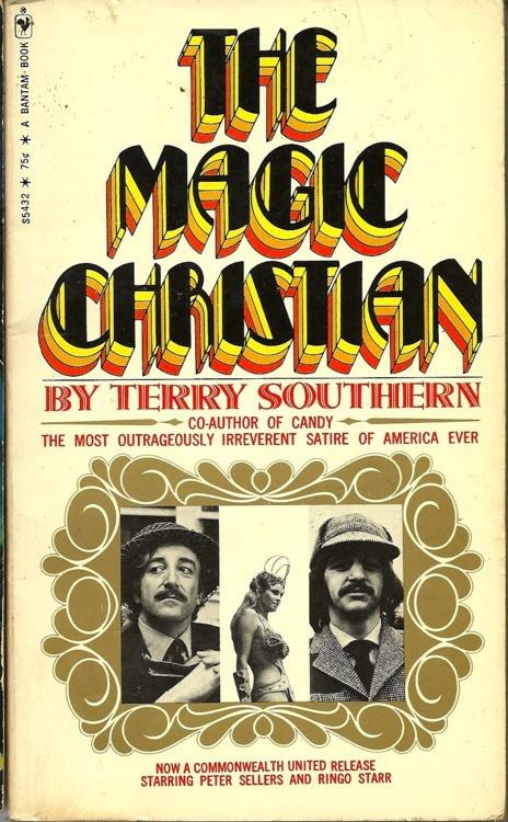 The Magic Christian book - http://johnrieber.com/2013/05/02/ringo-starr-the-fab-fours-magic-christian-madness-raquel-welch-dominatrix-great-solo-music/