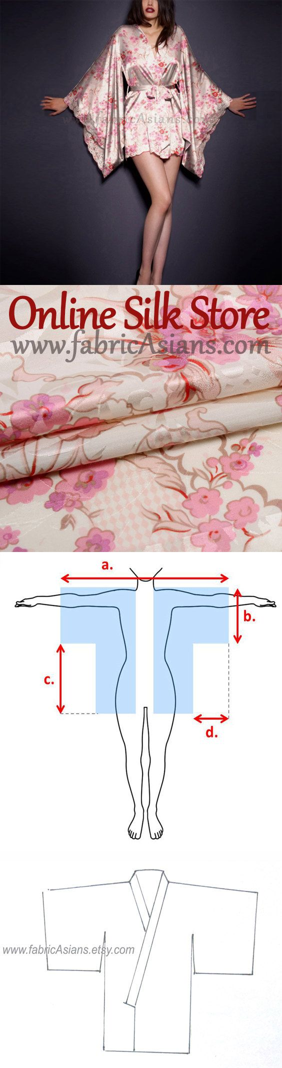Free Kimono Sewing Pattern. SALE Cherry Blossom Fabric. Pink Floral Silk. by fabricAsians