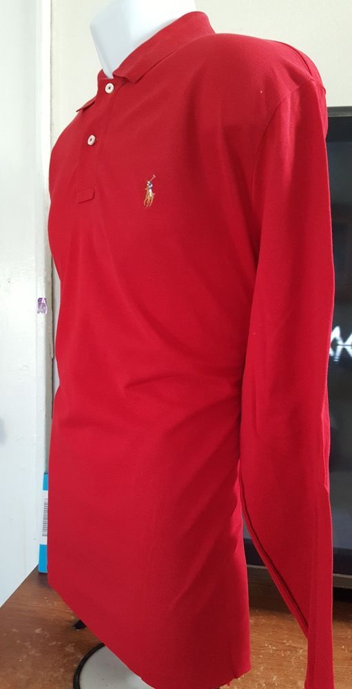 ebbdefc16018 Mens Polo Ralph Lauren Long Sleeve Red Rugby Shirt - 100% Cotton -LARGE