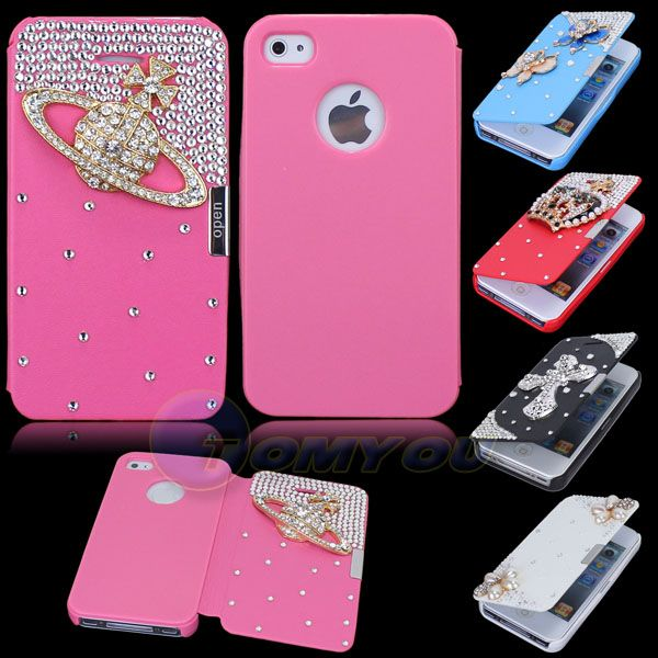 4S Luxury Diamonds Cross Pearl Crown Bling 4 Magnetic Flip Style Leather Wallet Hard Case Cover For iPhone 4 4S Free Shipping US $7.30