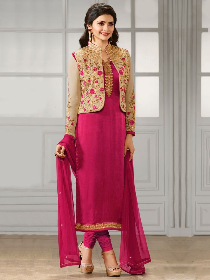 Red  Georgette Salwar Kameez Suit with Jacket