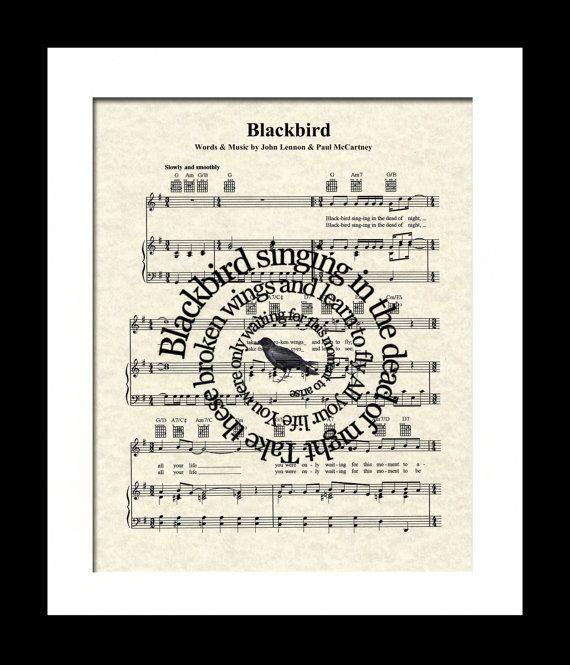 Blackbird Song Lyric Sheet Music Art PrintThe by WordsandMusicArt
