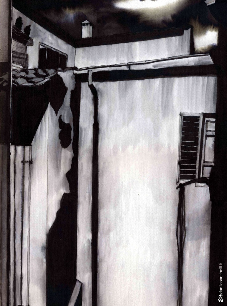 "Danilo Santinelli ""From the window"" ink on paper 29.5x40cm"