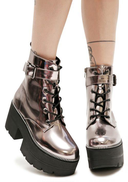 metallic boots| up to size 10!  kawaii harajuku space grunge pastel goth grunge fachin metallic boots shoes plus dollskill