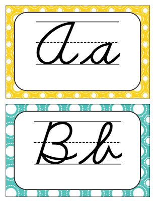 Cursive Alphabet Letters for classroom use- free!  Turquoise and Yellow theme