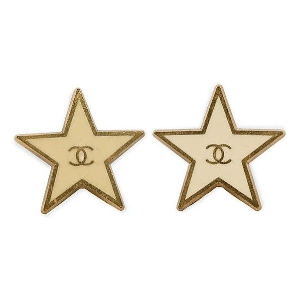 Chanel Enamel Star Button Earrings ❤ liked on Polyvore