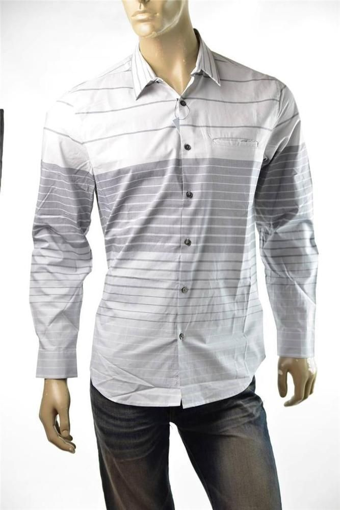 Mens Casual Shirts DKNY Donna Karan 100% Cotton Stripe Button up Shirt Sz L NWT #DKNY #ButtonFront