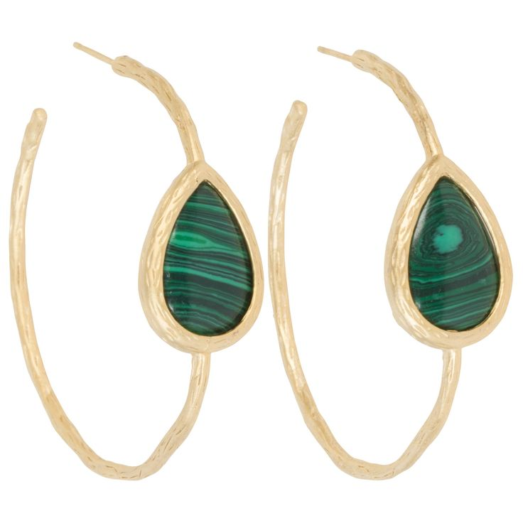 Kirra Tate Tear Drop Malachite Open Hoop Earrings @LaylaGrayce
