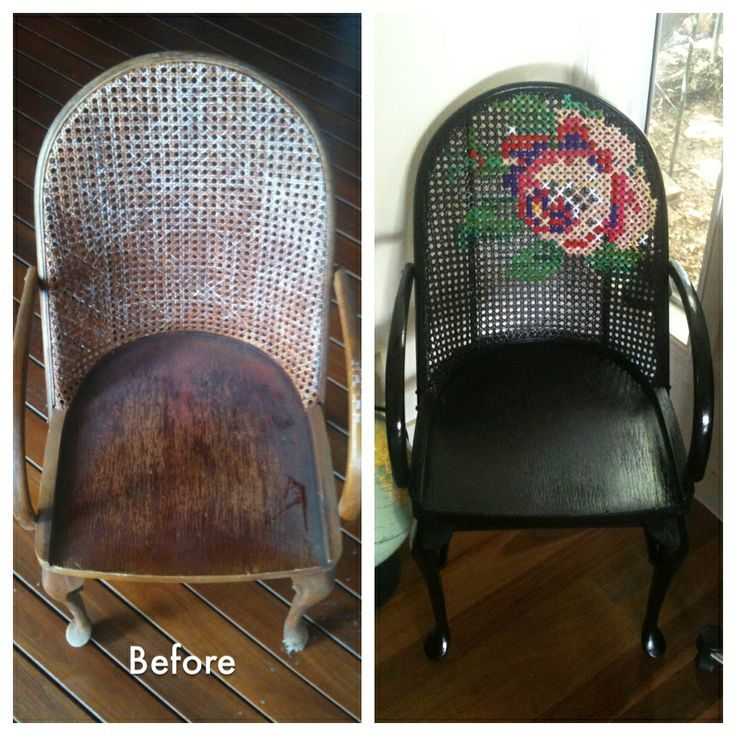 Twice Lovely: Gilded bentwood rocker with cross-stitched caning