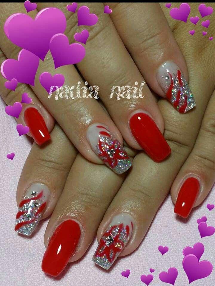 Rosso argento glitter strisce fiori strass