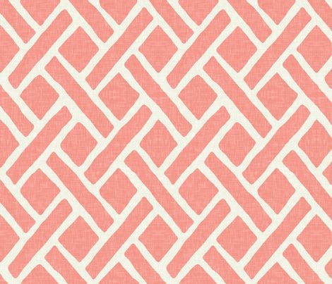 Savannah Trellis in Coral Linen fabric by sparrowsong on Spoonflower - custom fabric