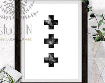 Diamond Printable Modern Art black and white by StudioInBudapest