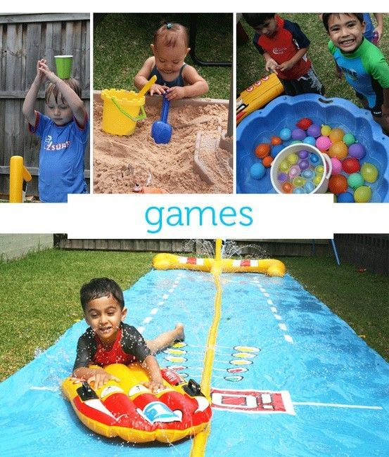the bottom picture made me think of water slide bowling! you have some garbage cans (clean of course) or something as pins, then have the kids slide down the tarp and try to get a strike!
