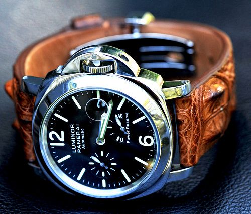 Panerai Luminor PAM 90 sporting a horned-back crocodile strap.