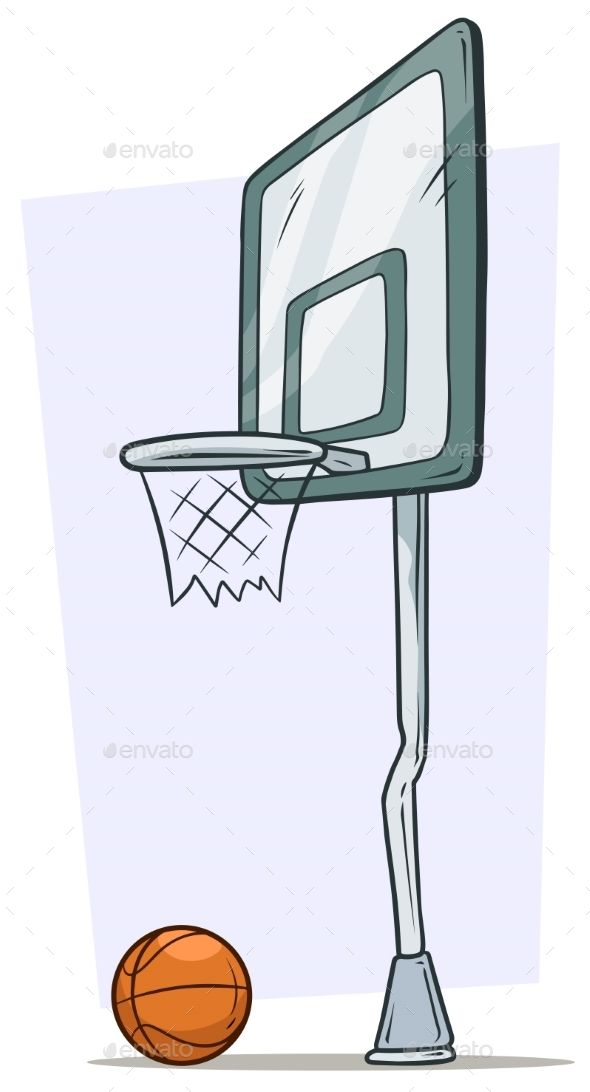 Cartoon Street Basketball Hoop And Orange Ball Street Basketball Basketball Hoop Basketball Drawings