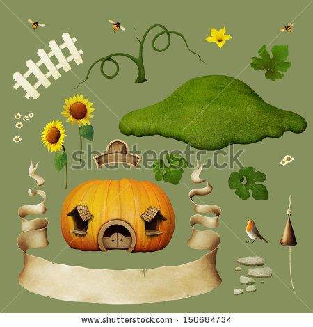 Set of objects for house pumpkins.