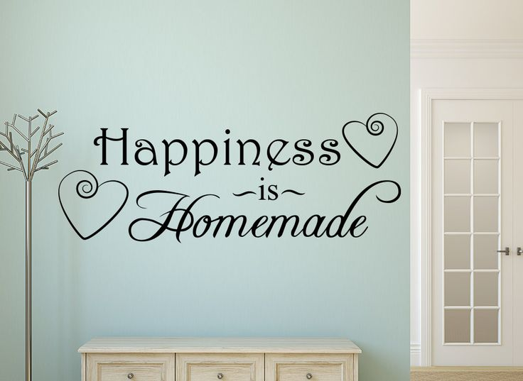 Happiness Is Homemade Wall Art Sticker  This fantastic wall sticker features two elegant love heart swirls and reads 'Happiness is Homemade' Perfect for any living or dining area or even the kitchen and are great for walls, doors, mirrors or any smooth flat surface.  Available Sizes: S - 36cm x 14cm M - 56cm x 22cm L - 78cm x 30cm XL - 110cm x 42cm XXL - 147cm x 56cm http://www.smartywalls.co.uk/happiness-is-homemade-wall-art-sticker.html