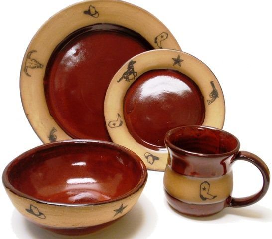 (AAP207ORR) Single 4- Piece Hand Crafted, Made in the USA, Western Stoneware Dinner Place Setting Real Red