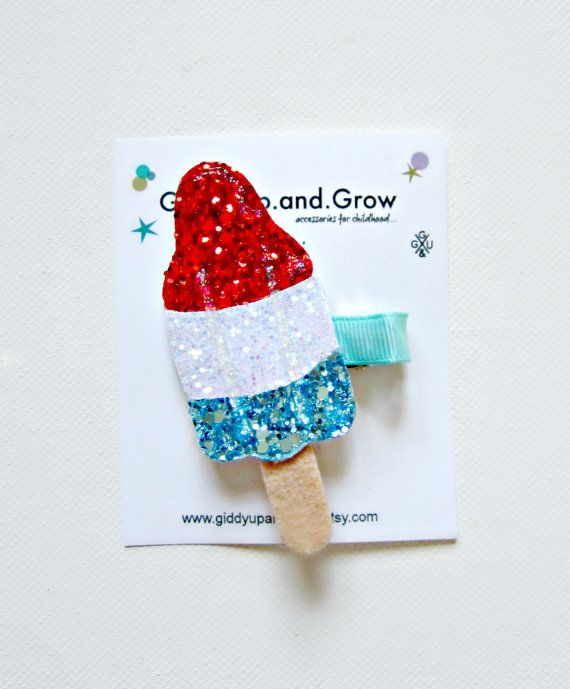 Bomb Pop Rocket Popsicle Ice Cream Hair Clip by giddyupandgrow