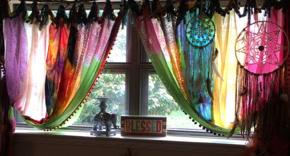 Gypsy Boho Tie Dye Room Divider Canopy by ChasingPeaceMarket