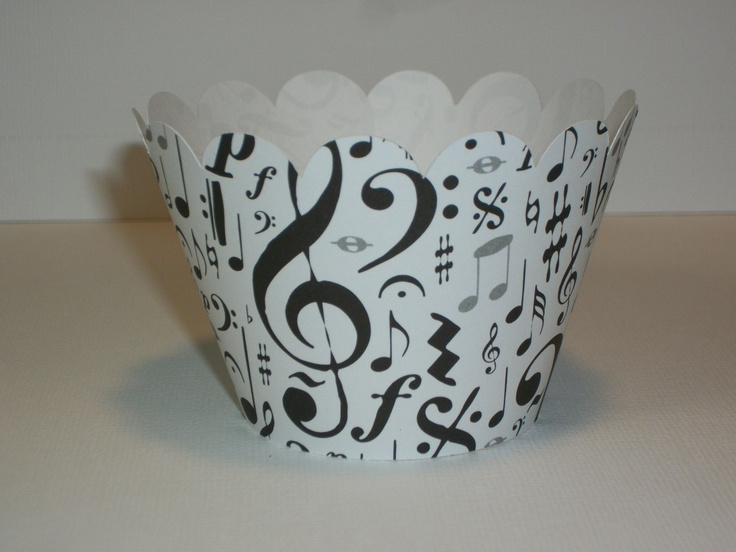 12 Cupcake Wrappers Music Notes Wrap Your Cupcakes In