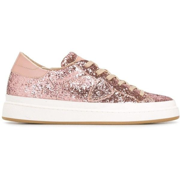 Philippe Model glitter sneakers (€155) ❤ liked on Polyvore featuring shoes, sneakers, pink, pink glitter sneakers, pink glitter shoes, glitter sneakers, leather sneakers and pink leather sneakers