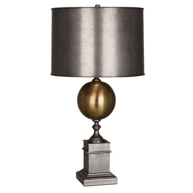 Robert abbey 2420 mary mcdonald regine one light table lamp patina nickel antique brass finish with metal shade