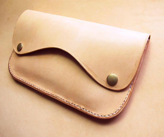 Minimalist Veg Tan Leather Clutch Simple Nude Leather Wallet