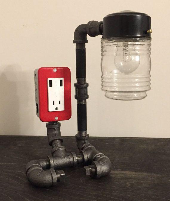 Black Friday - Industrial lamp USB Charging station - vintage lamp - desk lamp - table lamp - pipe lamp  - steampunk lamp  - USB lamp