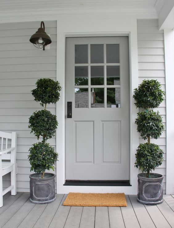 "Benjamin Moore HC-170 'Stonington Grey' with trim in 'Brilliant White.' The door is ""Platinum Grey' in high gloss"