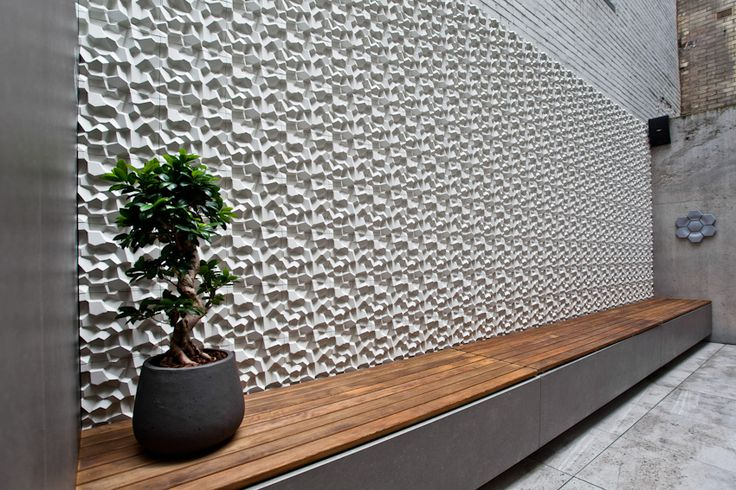 'Penta' concrete tiles by Cristina Vezzini I KAZA Concrete #3Dtiles #featurewall #surfacedesign #exteriorwall
