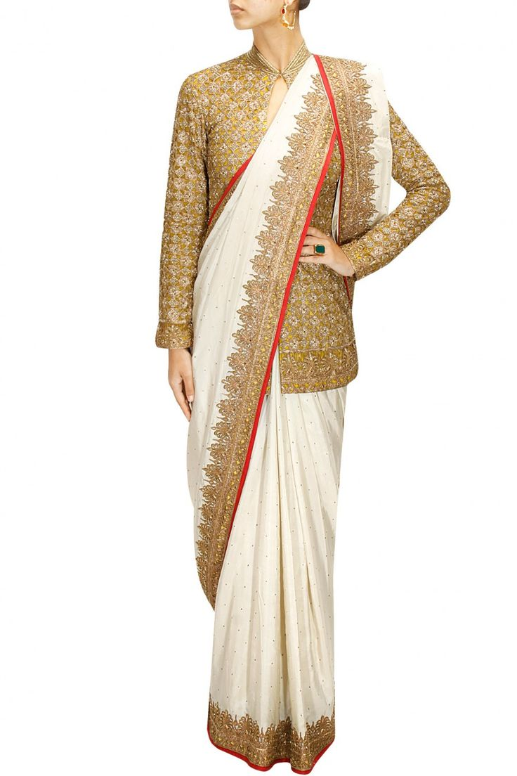Anand Kabra Ivory embellished sharara and dupatta with fully embroidered jacket available only at Pernia's Pop-Up Shop.