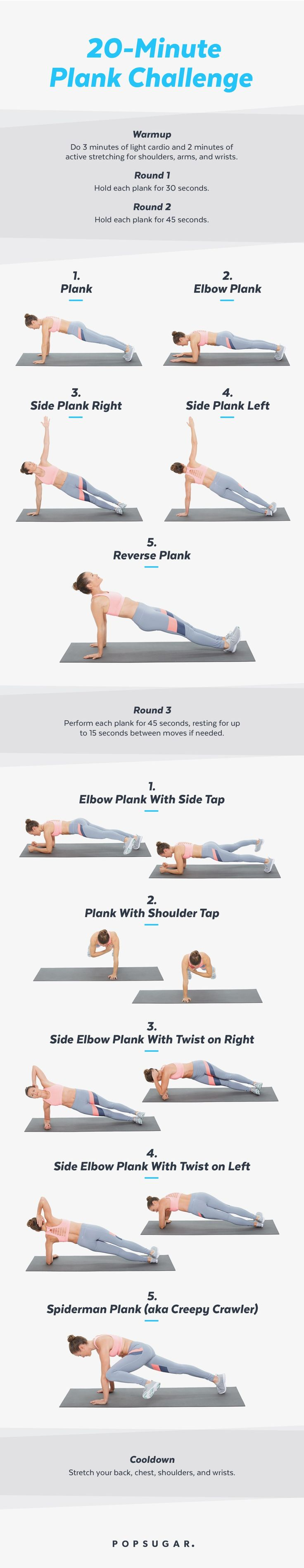Try this 20-minute plank challenge workout for flat abs and sexy shoulders. There are modifications for beginners too.