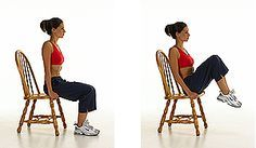 Captain's Chair (lower rectus abdominus): A.Remain seated with your feet flat on the floor. Sit tall with a long spine. Grasp the edge of the chair with your fingers on either side of your hips. Reach your palms into the chair to add stability to your torso. B.Exhale as you slowly bring your knees toward your chest, trying not to arch your lower back as you do so. Hold 1-3 secs. Then slowly lower as you inhale. **Repeat for 1 min**