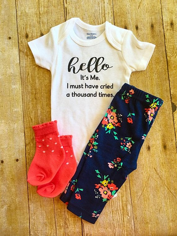 ♥100% cotton bodysuit (Gerber® Onesies®) Listing only includes the Onesie. Does not include any extra picture props shown. Made with High Quality HTV Vinyl. We use a professional Heat press. ♥Care Instructions: Turn inside out. Machine wash cold on delicate cycle Tumble dry on low